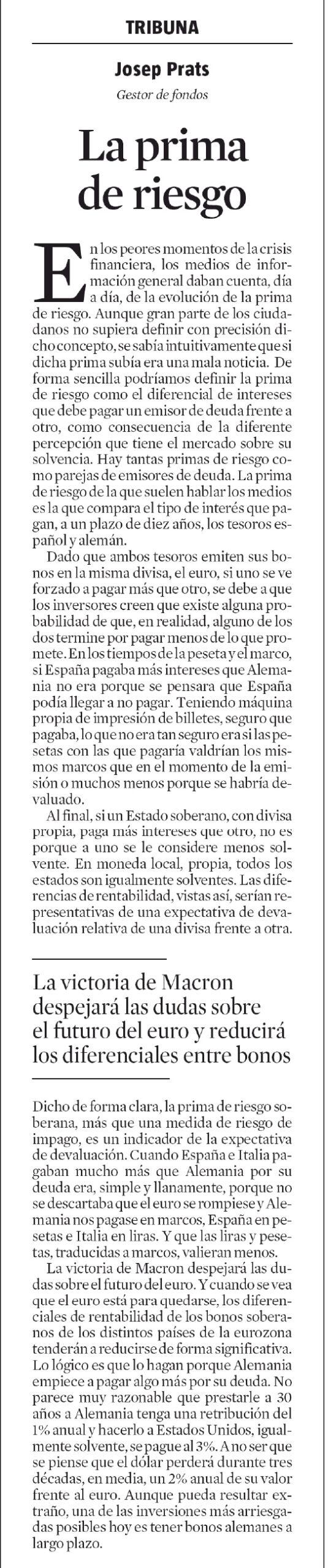 20170504 La Vanguardia Josep Prats prima de riesgo