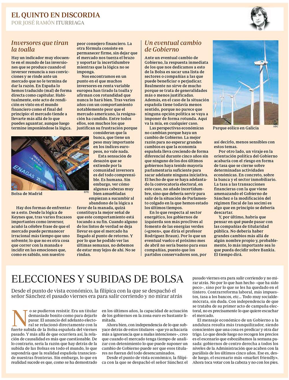 ABC EQED ITURRIAGA ELECCIONES Y SUBIDA DE BOLSA 20190218