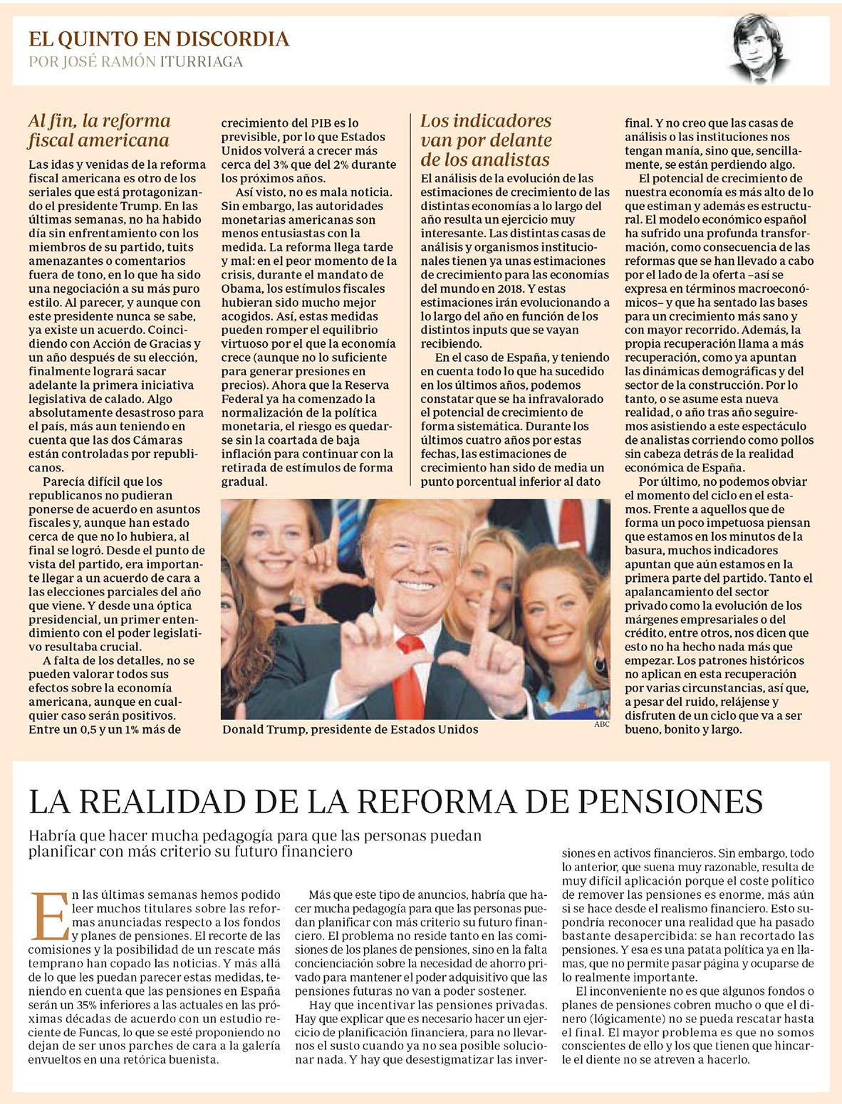 ABC Iturriaga EQED reforma fiscal en EEUU, indicadores y la reforma de las pensiones
