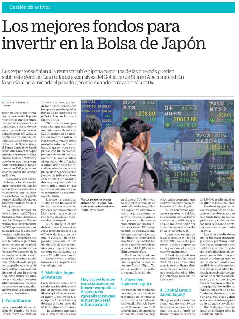 CINCO DÍAS GESTORA FONDOS BOLSA JAPON