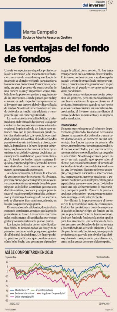 Expansión tribuna Marta Campello fondos de fondos