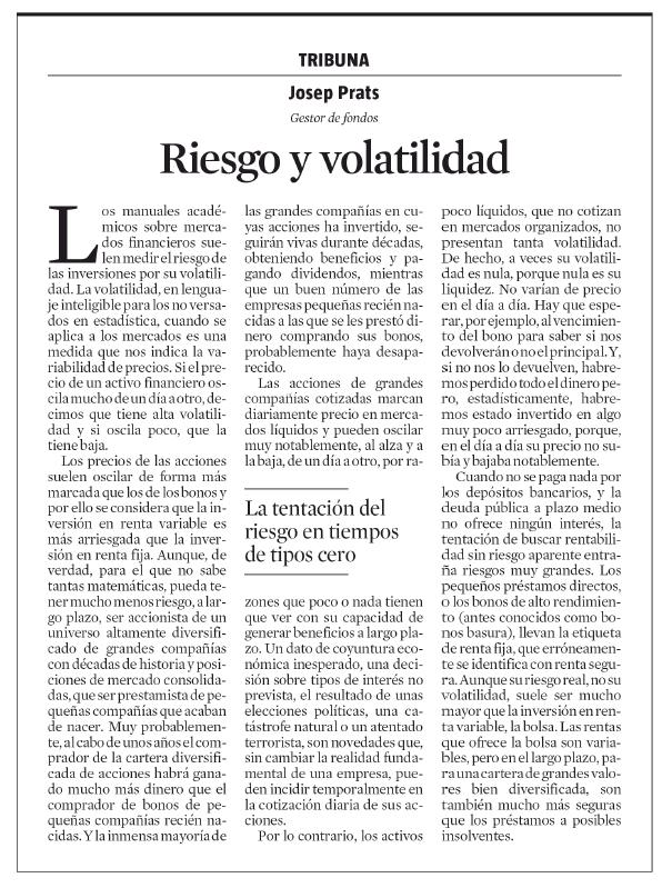 La Vanguardia Prats riesgo y volatilidad