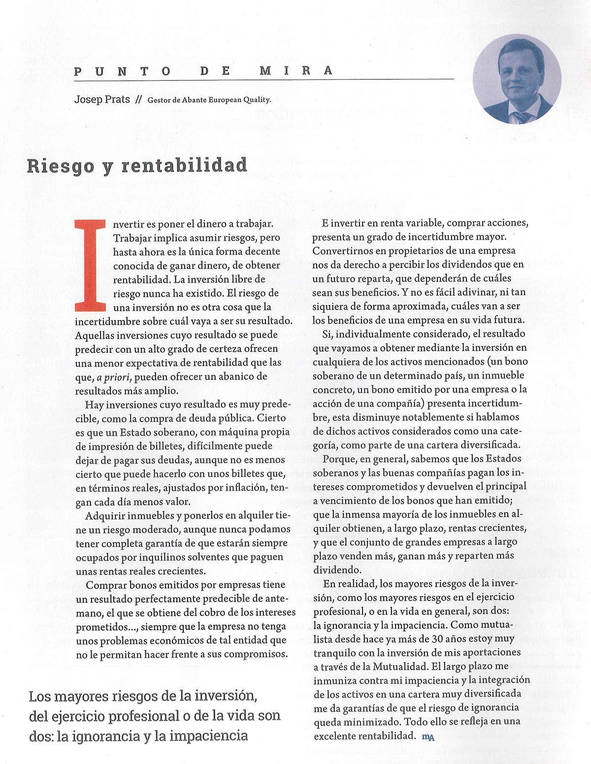 Revista de la Mutualidad de la Abogacia Prats Riesgo y Rentabilidad
